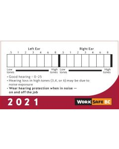 2021 Hearing Test Cards - Sold by Bundles of 100