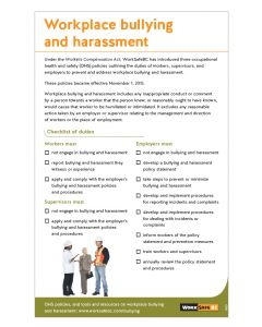 Workplace bullying and harassment - Checklist of duties for workers, supervisors, and employers