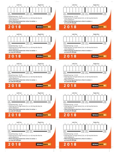 2018 Hearing Test Cards - Sold by Sheets of 10