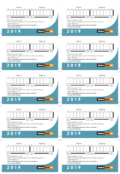 2019 Hearing Test Cards - Sold by Sheets of 10